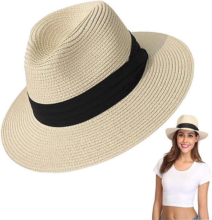 Amycute Sombrero de Paja Verano, Plegable Sombrero de Playa ...