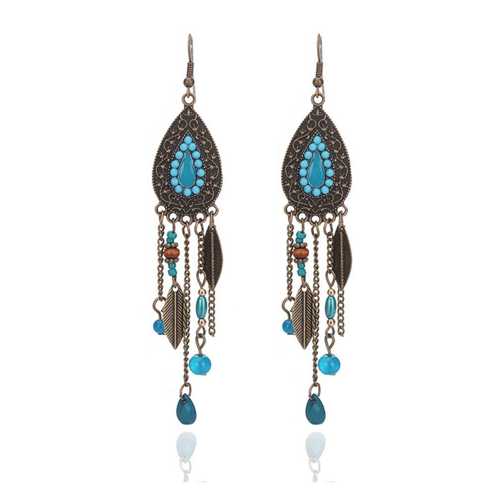 Kanggest Bohemian Metal Earrings Beaded Leaves Earrings Drop Dangle Stud Earrings for Women Girls Perfect Valentines Day Gifts