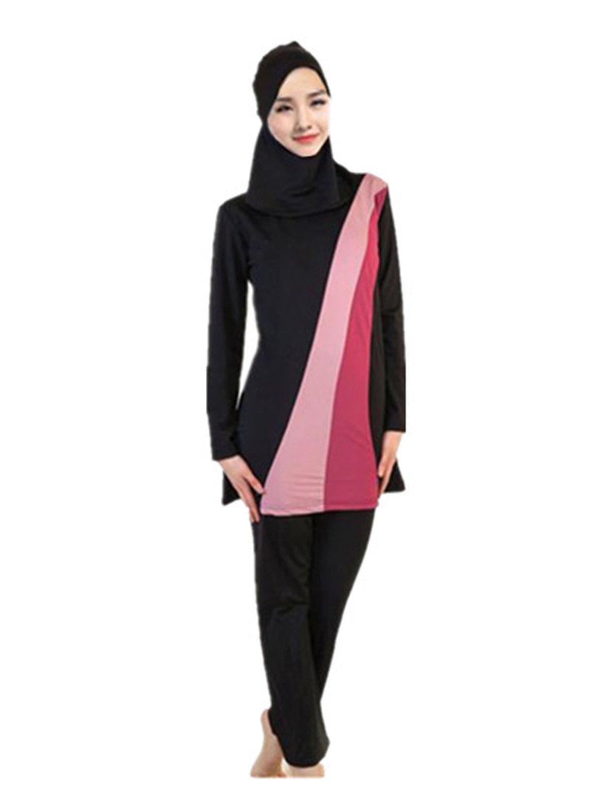 Leright Women's Muslim Swimsuit Color Block Moderate 2 Piece Beachwear Burkini, Black, XXXL(US Size XL)