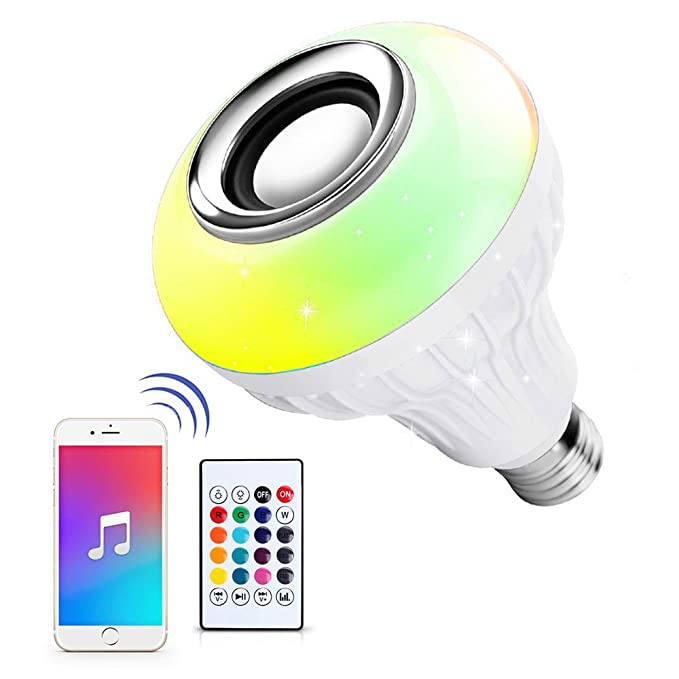 Ustellar LED Wireless Light Bulb Speaker, RGB Smart Music Bulb, E26 Base Color Changing with Remote Control for Party, Home, Halloween Christmas Decorations
