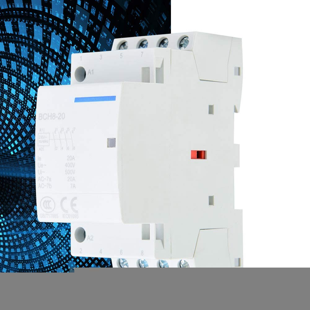 2P 20A 24V 220V//230V 50//60Hz Household AC Contactor 35mm DIN Rail Mount 500VAC