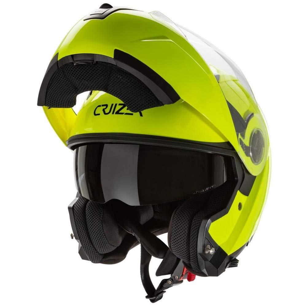 CRUIZER - Casco modulare omologato per moto e scooter alta visibilità con doppia visiera e parasole integrale (XL) CR-997 GIALLO