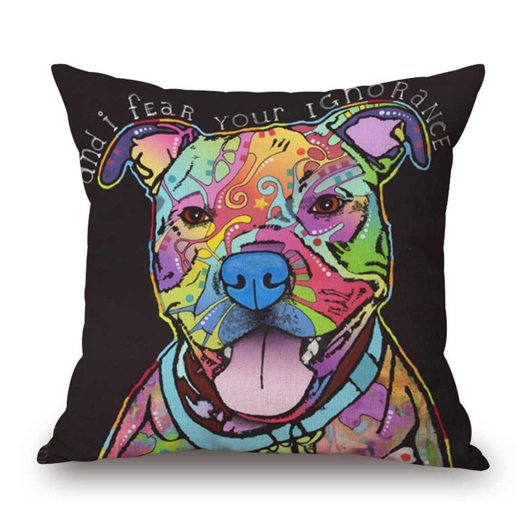 18 inch*18 inch, Dog d Valentoria/®Colorful Dog Cat Cotton Linen Square Decorative Throw Pillow Case Cushion Cover 18x18 Inch