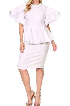 Genx Womens Plus Size Fashion Ruffle Short Sleeve Peplum Slim Midi