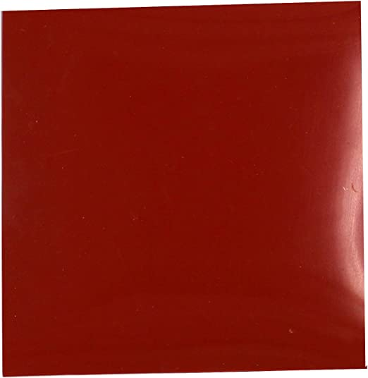 """55 durometer High Temp FDA 12/"""" x 12/"""" Red Silicone Rubber Sheet 1//16/"""" thick"""