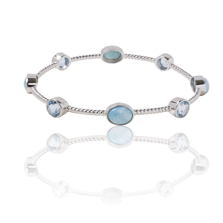 BEAN & VANILLA Larimar Multi Stone Bangle Bracelet in Italian Sterling Silver