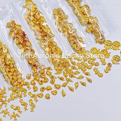 Kamas Mixed stlye 3d gold silver metal nail art decorations shell seahorse mermaid jellyfish studs charms nails ()