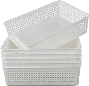 Lesbin Plastic Storage Trays Baskets/Organizing Baskets, 13.2 Inches x 9.6 Inches x 3.6 Inches, Set of 6 (White)