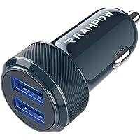 RAMPOW Cargador Coche Doble Puerto con LED, 24W 4.8A Cargador Móvil Coche con Carga Rápida, Cargador de Coche para…