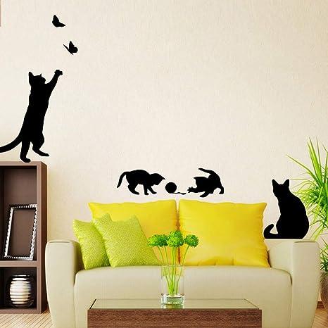 ELGDX Etiqueta de la Pared Gatos Mariposas Jugando para Niños Habitaciones Calcomanías Casa Escalera Decoración Murales
