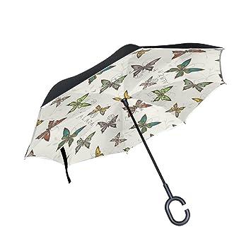 TIZORAX Mariposas invertidas Doble Capa Recta Paraguas Interior Exterior Reversible con Mango en Forma de C