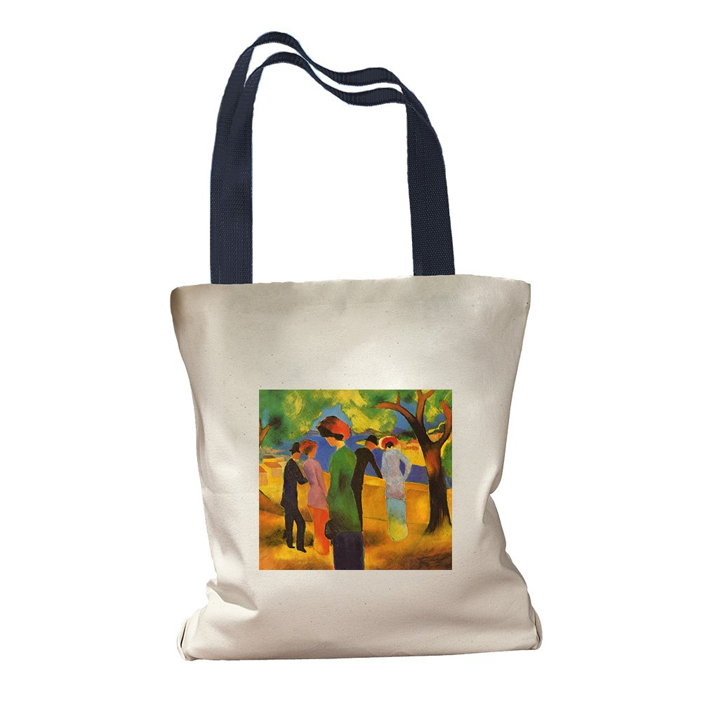 Lady In A Green Jacket (August Macke) Canvas Colored Handles Tote Bag - Navy