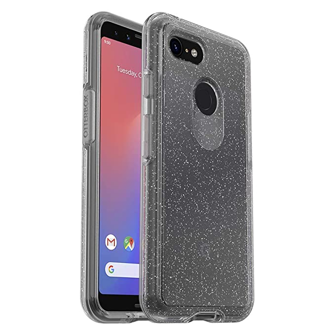 big sale d18fc 9a916 OtterBox Symmetry Clear Series Case for Google Pixel 3 - Retail Packaging -  Stardust (Silver Flake/Clear)