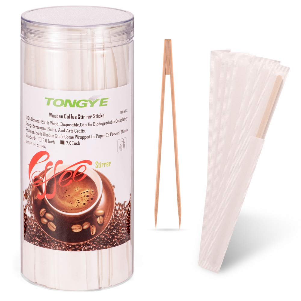 Wooden Coffee Stirrers Individually Wrapped with Bamboo Sugar Cubes Tongs, Wood Stir Sticks/Swizzle Sticks - Mix Hot/Cold Drinks: Coffee, Cocktail, Tea for Bar, Café, Office, Home. (7 Inch, 140 PCS) Café TONGYE