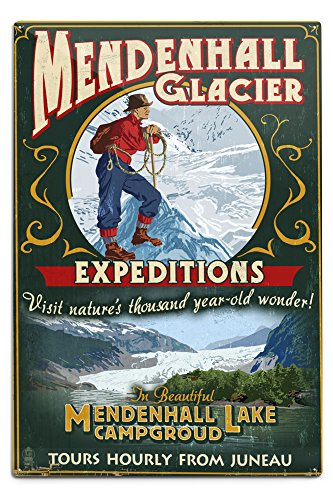 - Lantern Press Juneau, Alaska - Mendenhall Glacier Tours Vintage Sign (12x18 Aluminum Wall Sign, Wall Decor Ready to Hang)