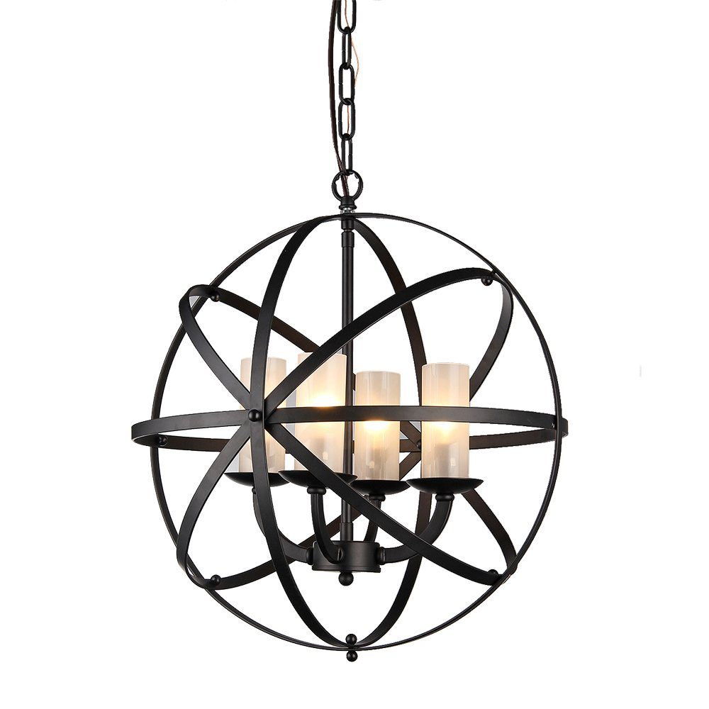 Warehouse of Tiffany RL8043 Mandisa 4-Light Chandelier, 18'', Black Finish