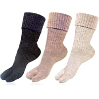 RC. ROYAL CLASS Women's Calf Length Towel Thick Woolen Thumb Multicolored Socks (Pack of 3 Pairs)