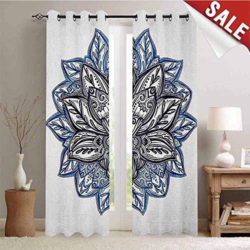 Lotus, Customized Curtains, Ethnic Paisley Petals Themed Lotus Flower Ethnic Boho Tattoo Illustration, Blackout Window Curtain, W84 x L84 Inch Violet Blue Indigo]()