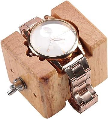 Soporte para Movimiento del Reloj, Estuche Profesional de Madera, Soporte para Caja de Reloj Bloque de Tornillo de sujeción Movimiento Reparación Reparación de Herramientas de relojero: Amazon.es: Joyería