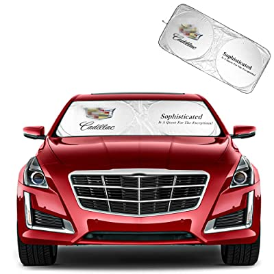 For CADILLAC Accessoirs Windshield Sunshade, Carshade be 190T Fabric Block the Strong Sunlight and Ultraviolet Rays, Keep the Car Cool and Sun Visor Protection Auto Easy to Use for SEDANS(59.8X31.8in): Automotive