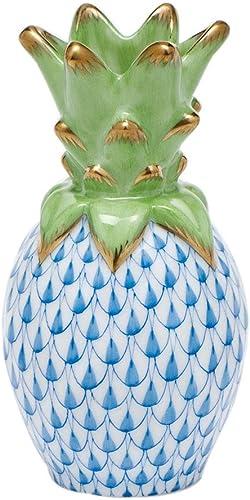 Herend Small Pineapple Porcelain Figurine Blue Fishnet
