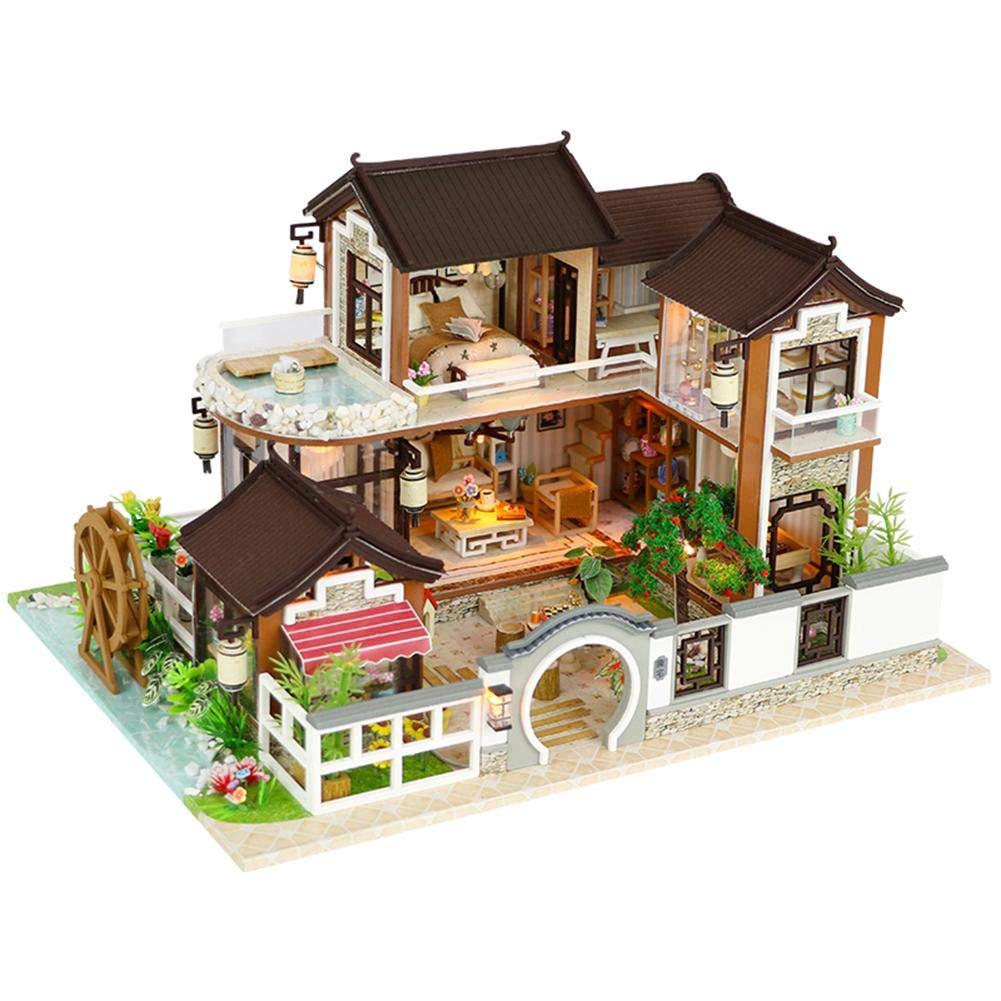 Oddity Maison de poupée bricolage Architecture antique sans couvercle anti-poussière