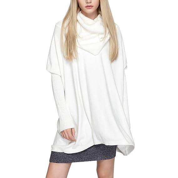 Suéter Suelto Mujer - Blusa Punto Camisa Cuello Alto Tshirt Batwing Camiseta Largo Tops Otoño Shirt Invierno Pullover Trabajo Jumper Casual Blanco Rojo ...