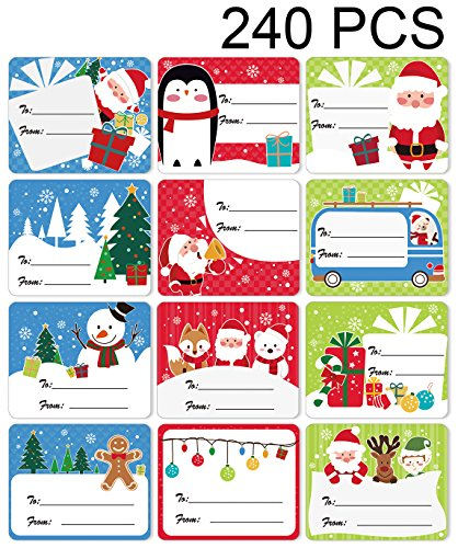 Moon Boat 240 Ct Tag Stickers-Santa/Snowman/Reindeer- for Present/Wrapping Paper Decorations
