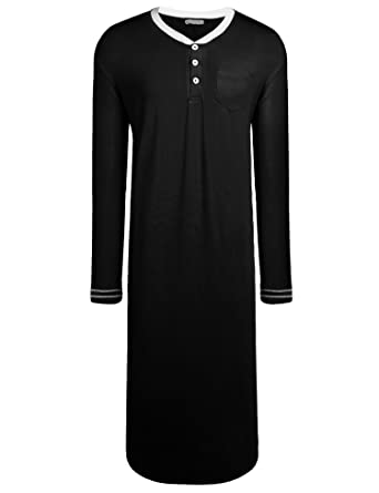 af1eb6e95ac Goldenfox Mens Cotton Nightgowns V-Neck Lounge Sleepwear Long Nightshirt  (Black