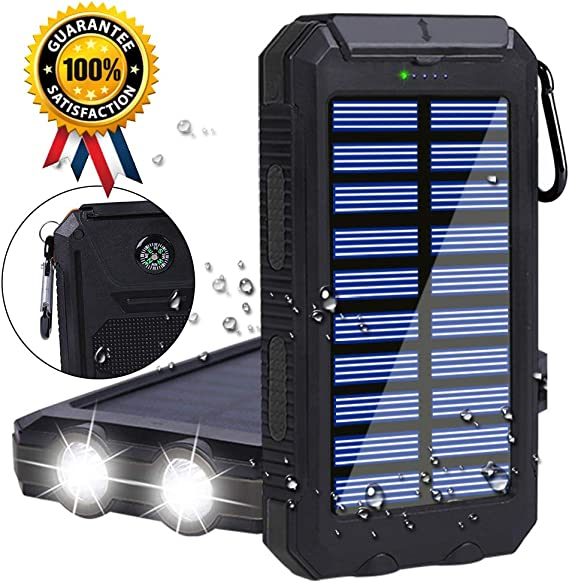 Solar Panel Power Bank Charger and BONUS Mini Bluetooth Shower Speaker Bl.. New
