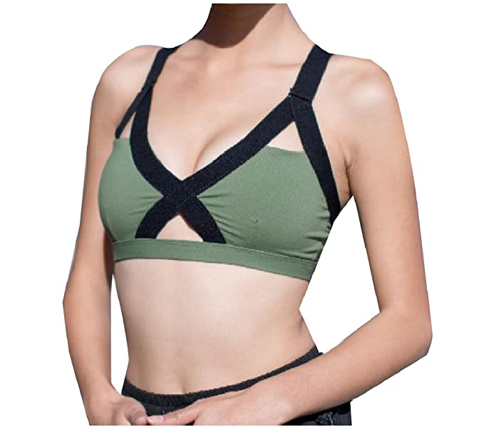 7c0f918401b0a RDHOPE-Women Custom Fit Padded Sports Bras Hit Color Soft Tank Top Army  Green S