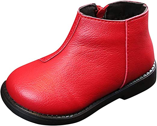 Toddler Infant Kids Baby Boys Girls Winter Warm Solid Ankle Sport Shoes Boots