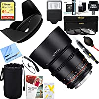 Rokinon DS85M-C DS 85mm T1.5 Full Frame Cine Lens for Canon EF Mount + 64GB Ultimate Filter & Flash Photography Bundle