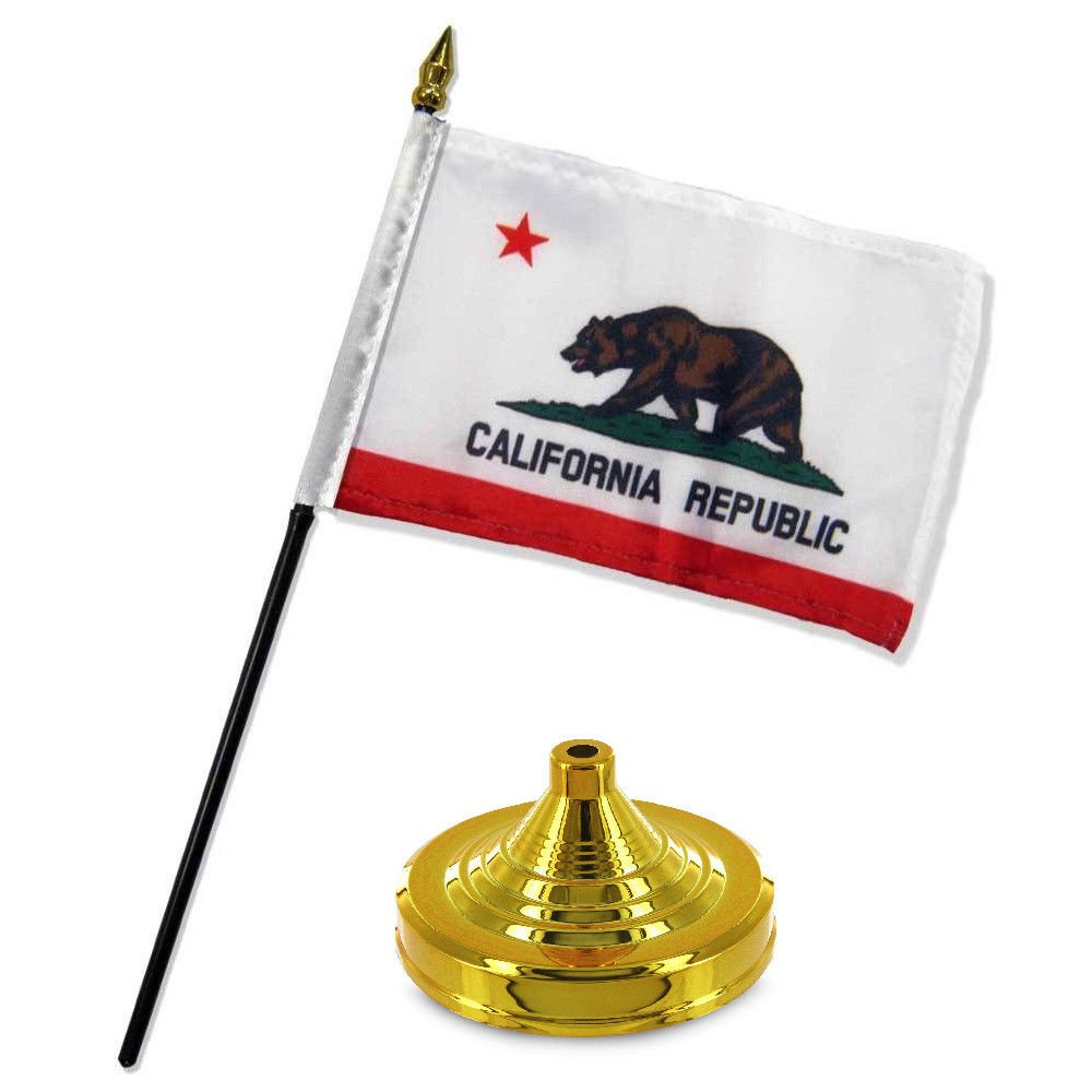 California Republic State Flag 4x6 Desk Set Table Stick Gold Base BEST Garden Outdor Decor polyester material FLAG PREMIUM Vivid Color and UV Fade Resistant