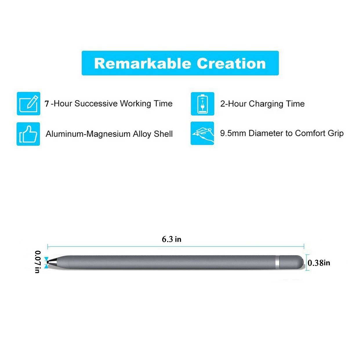 Active Touch Stylus Pens,Rechargeable Accurate Point Stylus Pens,Fine Tip Metal Electronic Styli for iPad,iPhone Plus,Tablets,Smartphones,All Capacitive Touch Screen Devices (Gray) by Peilinc (Image #8)