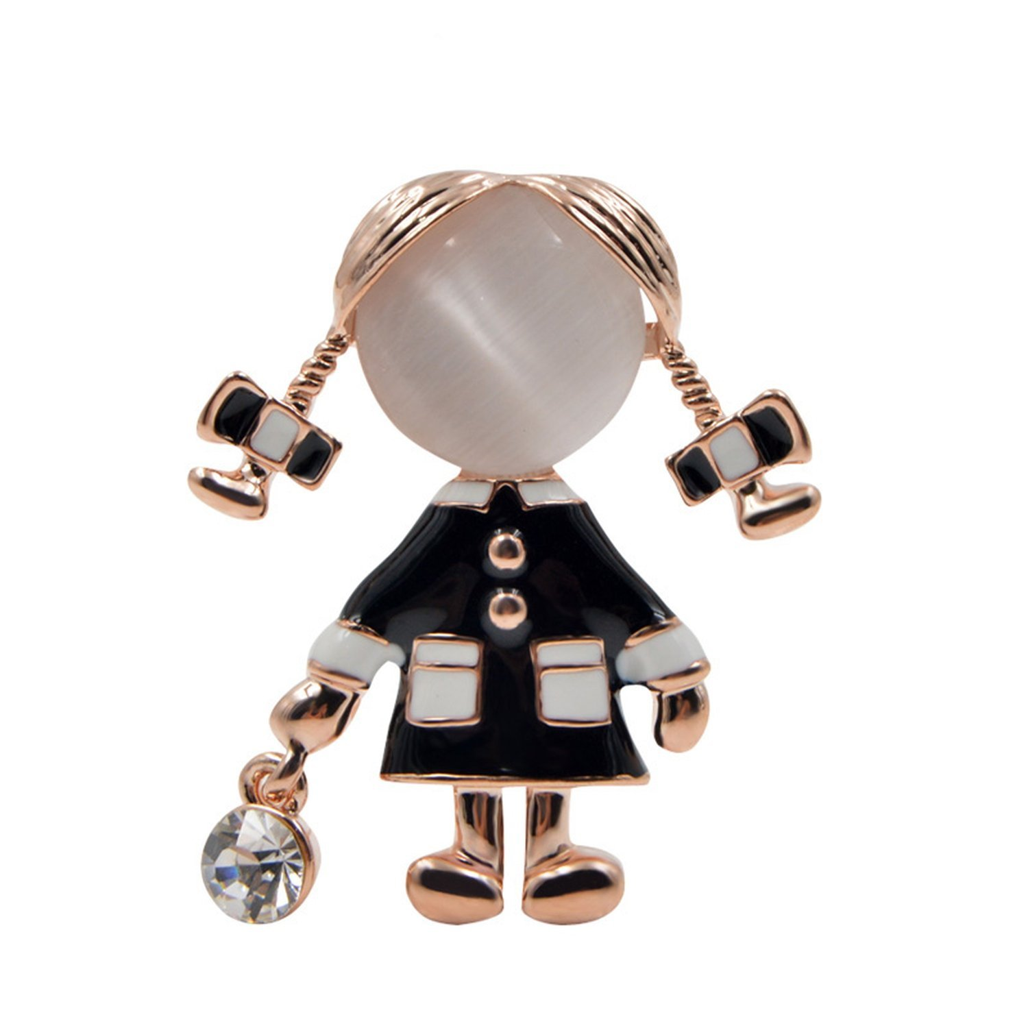 Small Cute Brooches Opal And Rhinestone Brooch Pin Silver Color Dress Coat Gift,Black