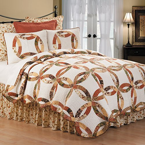 (C&F Home Aurelia Wedding Ring 3 Piece Quilt Set All-Season Reversible Bedspread Oversized Bedding Coverlet, King Size, Rust)