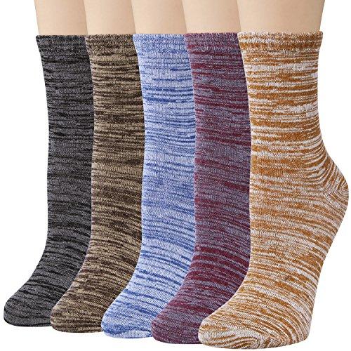 Darller 5 Pairs Womens Mens Cotton Casual Crew Socks Fashion Vintage Socks