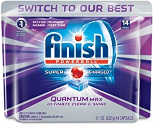 Finish Quantum Max Powerball, 14ct, Dishwasher Detergent Tablets, Ultimate Clean & Shine