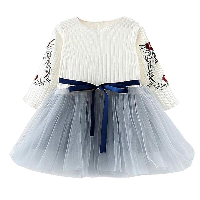 1c3059c0b Mitlfuny Verano Bebé Ropa Princesa Vestidos para Niña Manga Larga Flores Bordado  Camiseta Cosiendo Tul Cinturón
