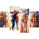 eCraftIndia 'Loving Couple Under Umbrella in rain' Painting (Canvas Print, 121.92 cm x 76.2 cm, Set of 4)