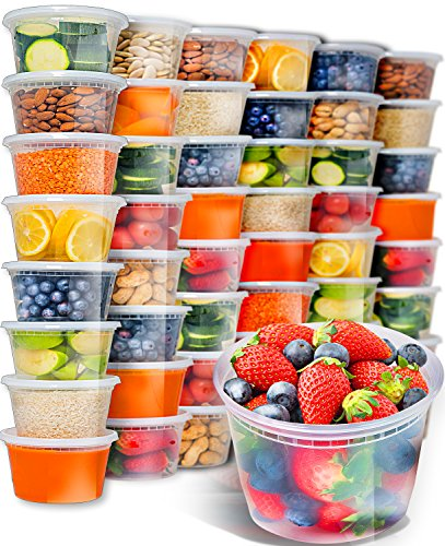 50pk 16oz Small Plastic Containers with Lids - Freezer Containers Deli Containers with Lids - Plastic Food Storage Containers with lids Plastic Food Containers with Lids Plastic Container by Prep Naturals