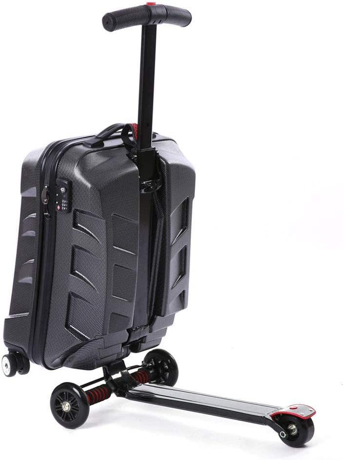 BSTOOL 21 Scooter Suitcase Carry On Trolley Luggage Travel Scooter Luggage Multi-functional Suitcase for Business Travel and School Black