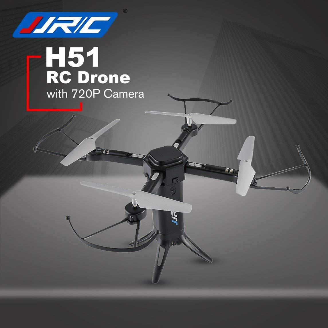 Footprintse dji Phantom 4 Quadcopter;Mini Quadcopter JJR/C H51 RC Helicóptero Similar a un Cohete WiFi 360 Elfie Drone 720P RC Quadcopter-Color: Negro