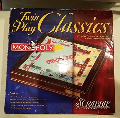 Classic Scrabble - Twin Play Classics Monopoly Scrabble Wooden Box