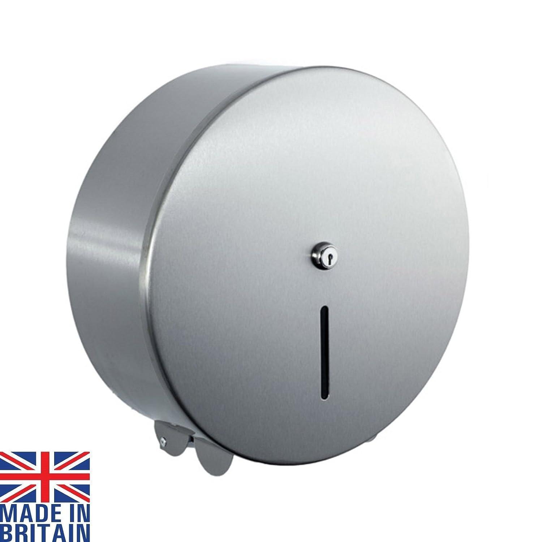 Lockable Jumbo 12' Toilet Roll Paper Dispenser Polished Stainless Steel JDS