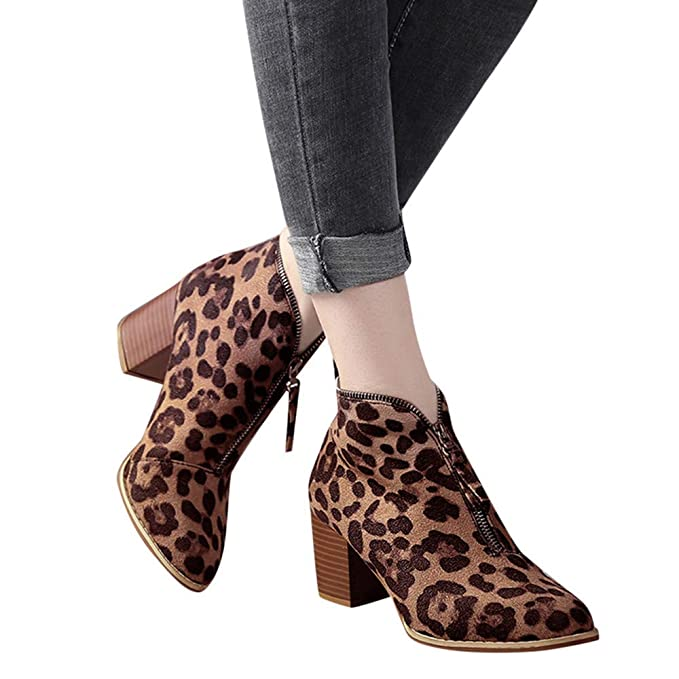 aa003860ca5b Women Ankle Boots Cinsanong Ladies Solid Leopard Zipper Shoes Fashion Short  Martin Bootie  Clothing