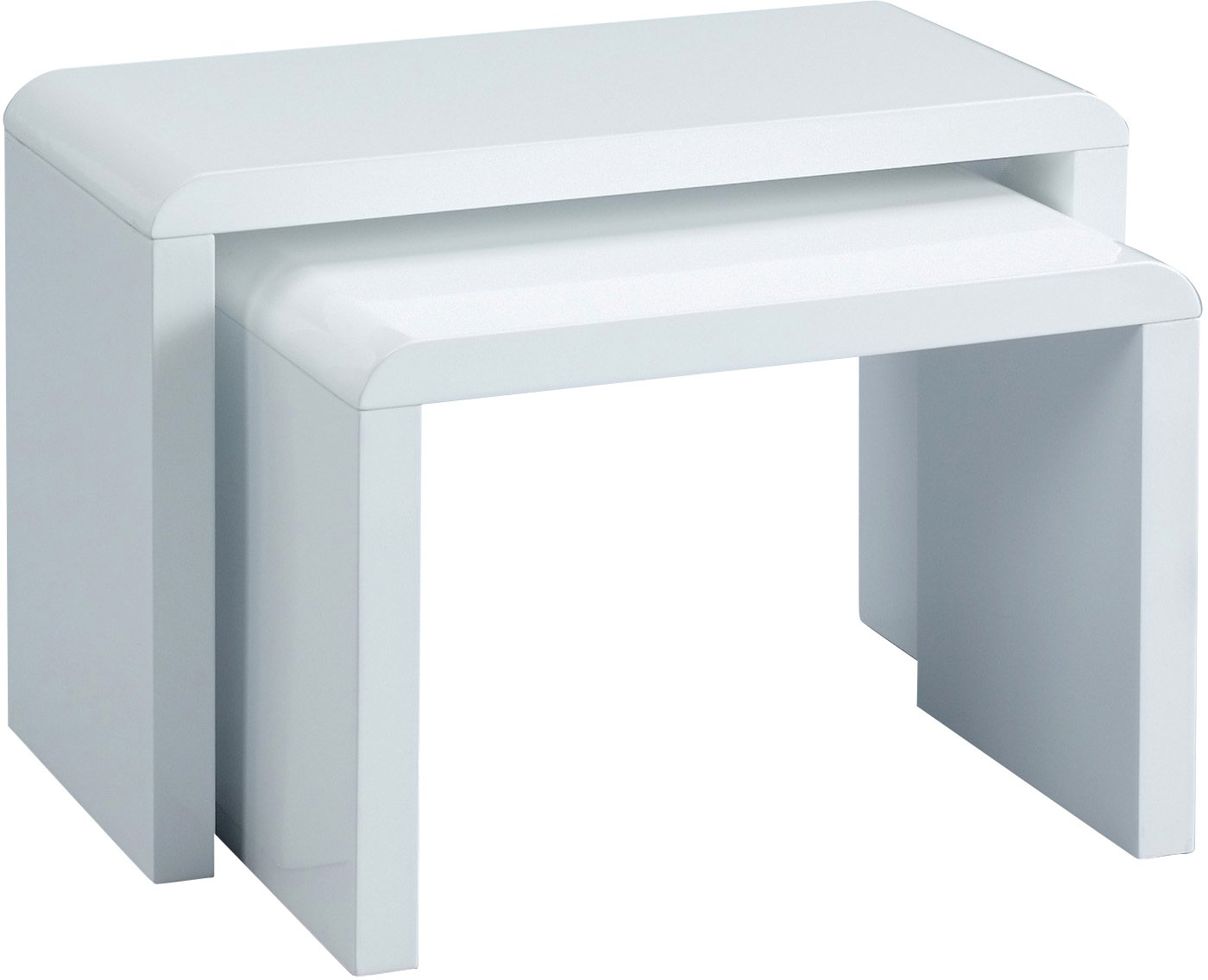 HomeTrends4You 510950 Lot de 2 tables gigognes - 59 x 41 x 30 cm - blanc brillant