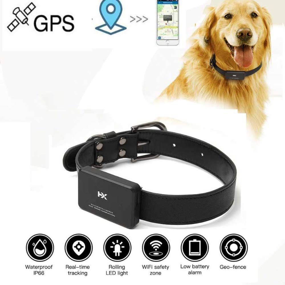 HUAXING Pet GPS Tracker,Real-Time GPS Tracker,GSM/GPRS/GPS Pet Safety Tracker 1000 Mah Electricity Long Standby Time, for Dogs/Cats/Pets.