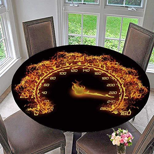 "PINAFORE HOME Round Premium Table Cloth Depositphotos stockburn Speedometer Perfect for Indoor, Outdoor 31.5""-35.5"" Round (Elastic Edge)"